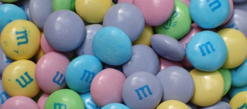 Pastel coloured M and M's