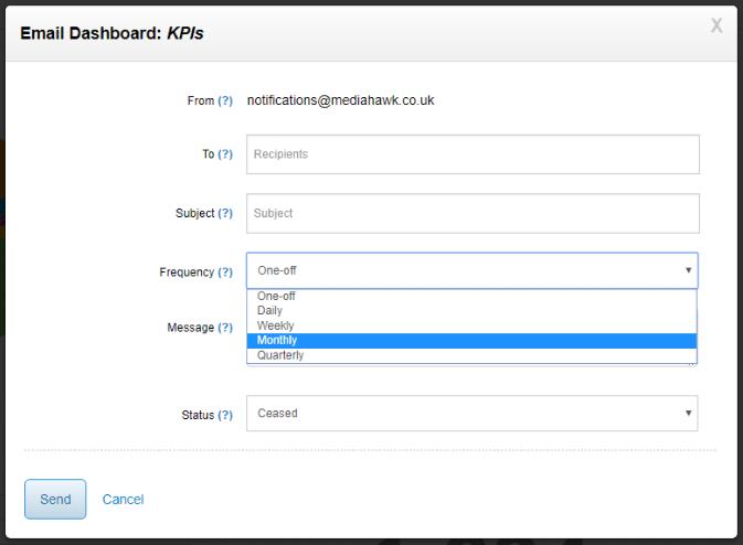 Email dashboard modal screenshot.