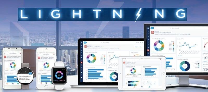 Salesforce Lightning screenshots on various devices.