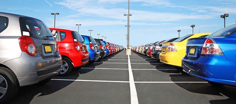 Cars in a car park.